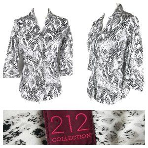 * 212 Collection button down blouse black white
